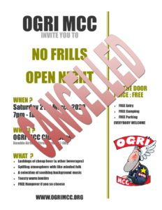 No Frills Open night - Cancelled