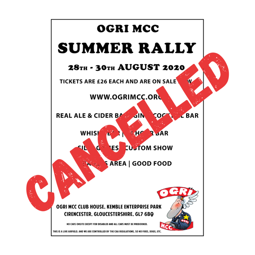 OGRI Summer Rally 2020 Cancelled