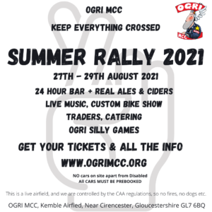 Summer Rally 2021 - OGRI MCC Flyer